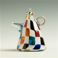 crazy quilt glass teapot form by richard marquis
