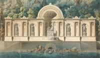 monument thermal, adossé à un massif rocheux (plan) by pierre marnotte