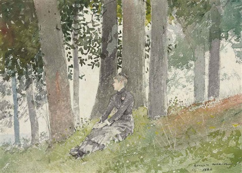 girl seated in a grove by winslow homer