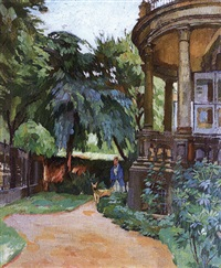 dresden: villa und park in der tiergartenstraße mit dame und dogge by ferdinand dorsch