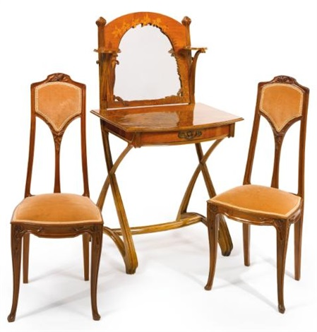 dressing table and pair of side chairs set of 3 by louis majorelle