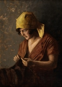 mujer cosiendo by ventura alvarez sala