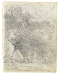 two sketchbook pages: a) view of the temple of hercules at cori, figures in the foreground b) monks conversing by a rocky outcrop (2 works) by hubert robert