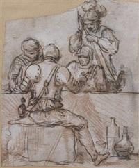 quatre guerriers au cabaret by hubert robert