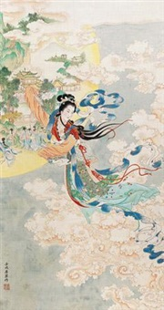 嫦娥奔月 (the goddess chang flying to the moon) by ren shuaiying