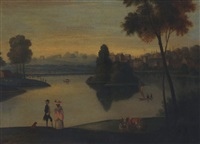 elegant figures by a boating lake by balthasar nebot