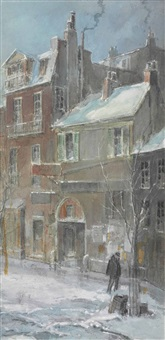 city street scene by everett shinn