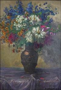 sommerblumen in bronzefarbener vase by ernst albert fischer