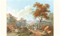 promeneurs dans un paysage de cascade (+ promeneurs dans un paysage de château fort; pair) by louis gadbois