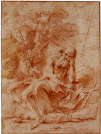 st. jerome seated under a tree by andrea camassei
