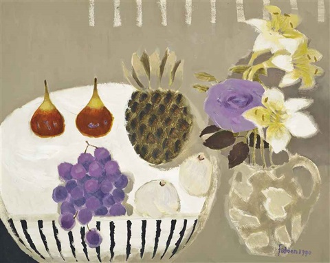 still life with grapes and figs by mary fedden