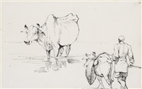 study of cattle and a cart; study of cattle and a drover by george chinnery