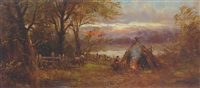 figures before a campfire at sunset by ferdinand franz hoepfner