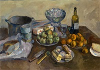 still life with cakes and fruit by aristarkh vasilevich lentulov