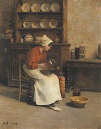 jeune femme préparant les fruits by franck antoine bail