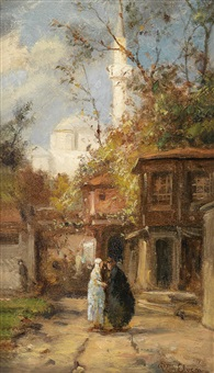 orientalische straßenszene by pierre (henri théodore) tetar van elven