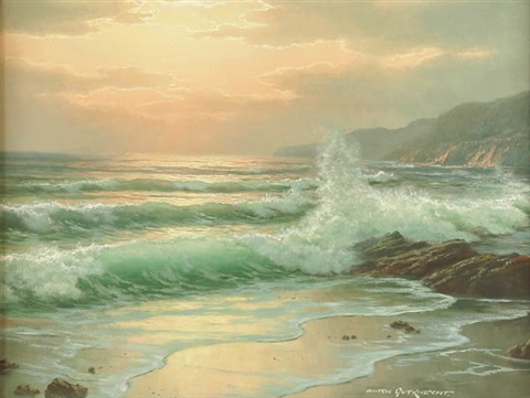 california seascape at dusk by anton gutknecht