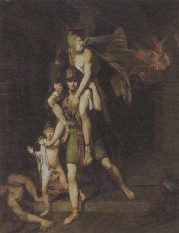 aeneas flieht mit sohn und vater anchises aus dem brennenden troja by charles brocas