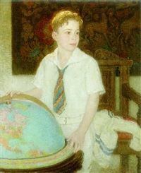 young boy with globe by henry salem hubbell