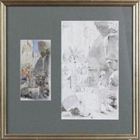 ali baba pour l'illustration de l'album quantin (2 works) by felicien de myrbach-rheinfeld
