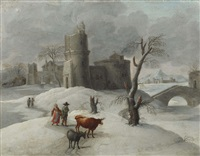 a winter landscape with figures with a cow and a donkey in the foreground, a castle beyond by flemish school (18)