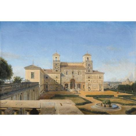vue des jardins de la villa medicis à rome by alphonse henri perin