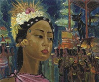 girl in a procession by lim kwie bing