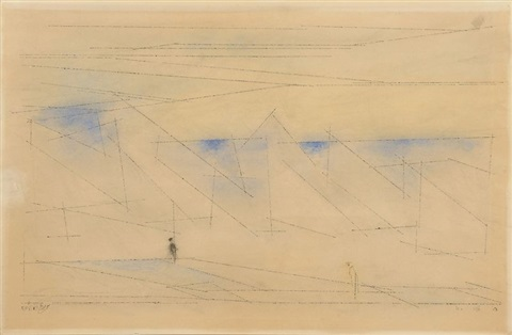 deux figures sur le rivage by lyonel feininger