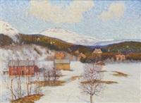 motiv från tott, åreskutan, med fresks pensionat i bakgrunden by anton genberg