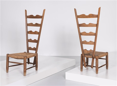 Two High Back Chairs By Gio Ponti