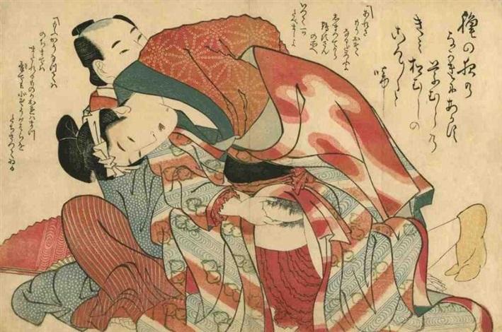 oban yoko e tane no chigiri couple en kimono rouge by katsushika hokusai