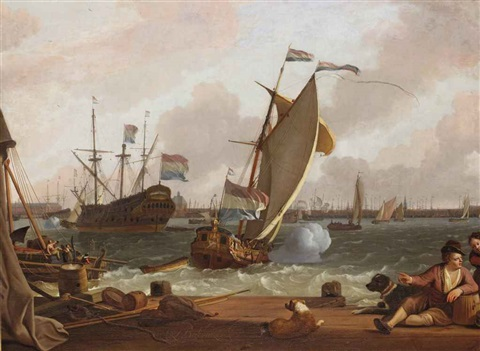 a view of the ij with the east indiaman kattendyck a states yacht and various other ships the harbour of amsterdam beyond by ludolf backhuysen the elder