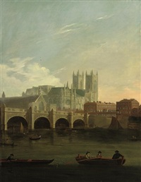 a view of westminster bridge with figures and boats on the thames by william marlow