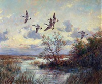 geese over a marsh by frank vining smith