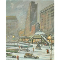 new york - the el in winter by bela de tirefort