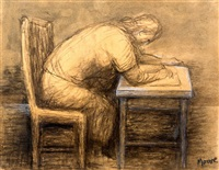woman drawing by henry moore