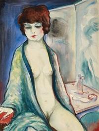 weiblicher akt vor dem spiegel (+ elegantes paar, verso) by alois erbach