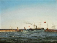 seascape with ships off the pier by carl emil baagöe