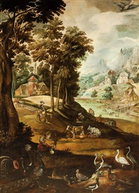 paisaje con animales by marten van valkenborch the elder