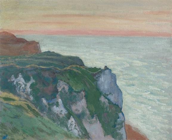 soleil couchant sur les falaises de varangeville normandie by jean francis auburtin