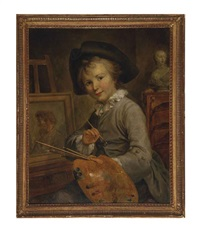 portrait of a young boy, three-quarter-length, seated at an easel, a classical bust behind by françois hubert drouais