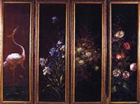 heron et motif de fleur by corinna modigliani