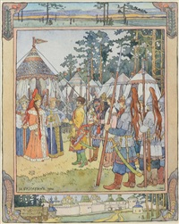 illustration from the the russian fairy tale, maria morevna and koschei the wizard by ivan yakovlevich bilibin