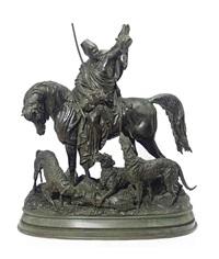 figural group entitled kabyle au retour de la chasse by arthur waagen