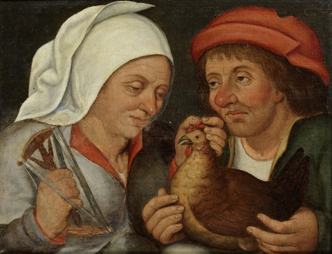 two peasants with a hen and a spindle by pieter brueghel the younger