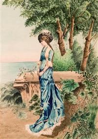 dama en el jardín by rafael alberola