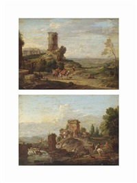 an italianate landscape with travellers on a track beside a ruined tower... (+ an italianate river landscape with a stag hunt, ruins beyond; pair) by hendrick frans van lint