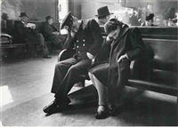 sleeping passengers, greyhound bus terminal, new york city by esther bubley
