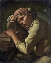 a philosopher, possibly heraclitus, the weeping philosopher by gaspare traversi