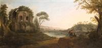 paysage idéal italien avec un lac bordé du temple de minerva medica by carlo bonavia
